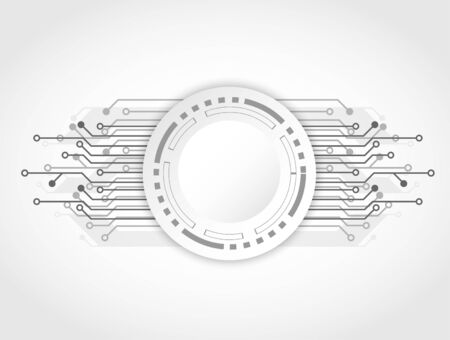 Futuristic clean technology concept, white button and circuit board. hi-tech, engineering .technology background .vector. Ilustração Vetorial