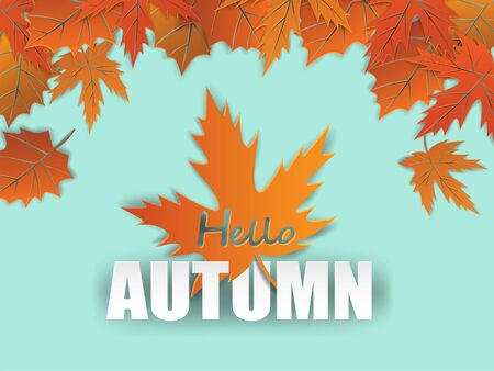 Autumn sale background. design with autumn leaves on mint green background. Vector.