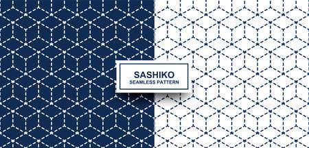 Abstract. Sashiko seamless pattern. line indigo and white background. design for pillow, print, fashion, clothing, fabric, gift wrap. Vector.