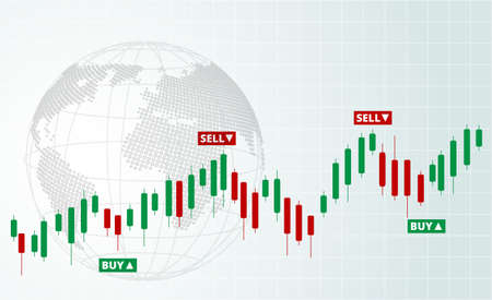 Stock Forex trading exchange of world. Buy and sell signals, stock market investment trading. White background. Vector. Vetores