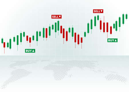 Stock Forex trading exchange of world. Buy and sell signals, stock market investment trading. White background. Vector.