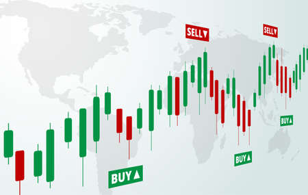 Stock Forex trading exchange of world. Buy and sell signals, stock market investment trading. White background. Vector. Vettoriali