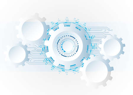 Futuristic clean technology concept, white paper gear wheel technology circuit board. hi-tech, engineering , white-blue background
