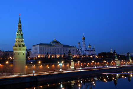 Moscow Kremlin (with Moscow-River, and it's embankment) shot from the Big Stone Bridge. Stock Photo - 685427