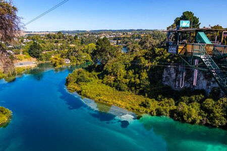 Bungy jumping in Taupo, new zealand 版權商用圖片