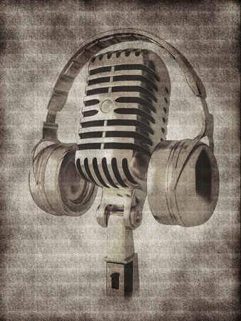 Microphone with headphones on background photo