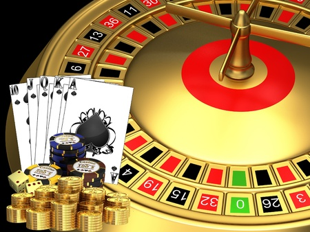 Golden roulette with cards and chips photo