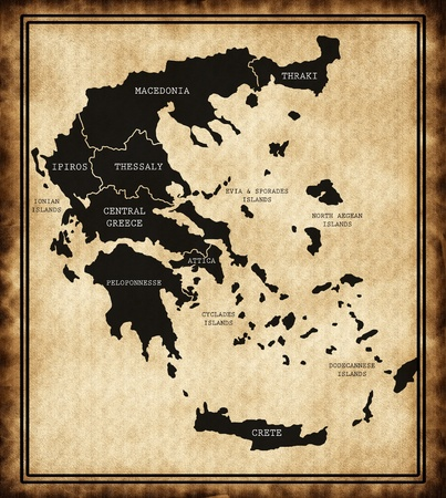 Map of Greece on the old background
