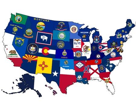 Kaart van de VS met state vlaggen Stockfoto