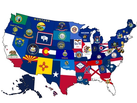 state government: Map of USA with state flags