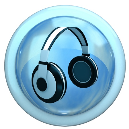 cd recorder: Blue button with the headphones Stock Photo