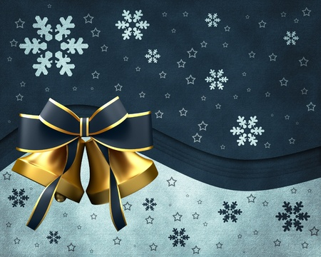 christmas bells: Christmas bells with bow Stock Photo