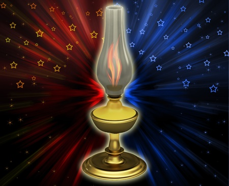 Oil lamp on the abstract background photo