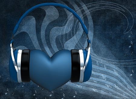 corazones azules: Auriculares con un coraz�n en el fondo