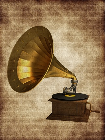 Golden gramophone on the background Stock Photo - 12044864