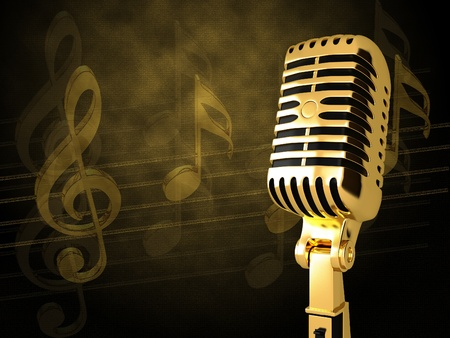 pop singer: Vintage microphone on the background