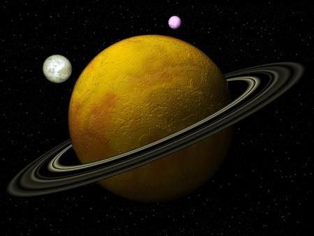 Planet with satellites photo