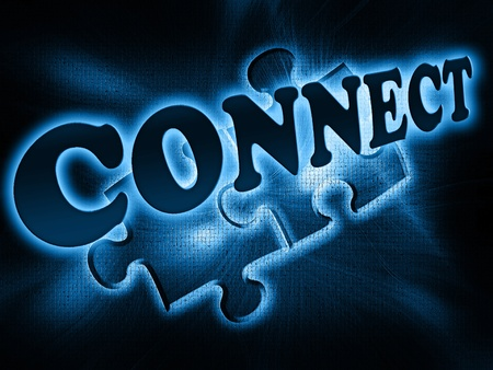 luminescent: Luminescent blue label connect on a dark background