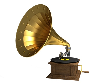 Golden gramophone on the white background photo