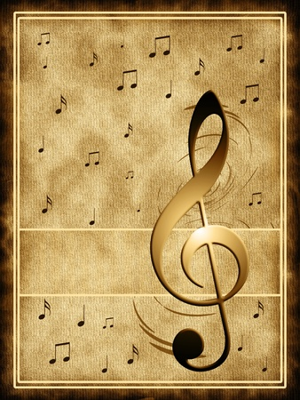 old fashioned: Background music with notes Stock Photo