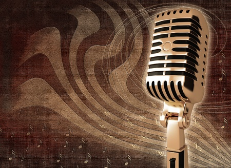 Vintage microphone on the background Stock Photo - 12044844