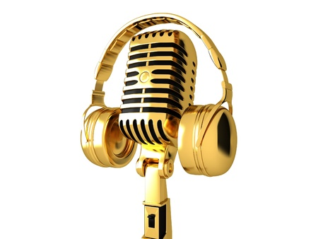 Golden Classic microphone and headphones photo