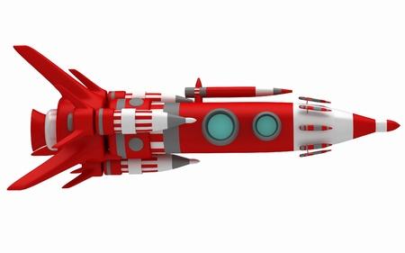 Steel stylized space rocket in flight photo