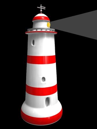 Lighthouse isolated on white background photo
