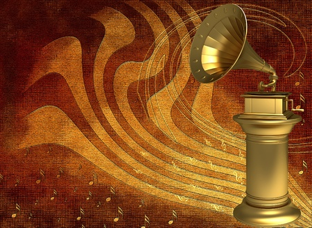 Golden gramophone on an abstract background Stock Photo - 12044833
