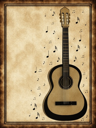 Old background with a guitar