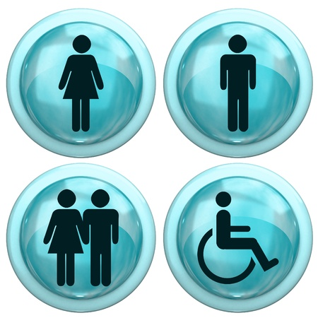 Blue Button with the people Stock Photo - 12164080