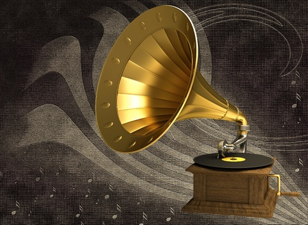 Golden gramophone on an abstract background Stock Photo - 12164087