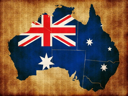 Map of Australia on the old texture photo