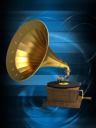 brass instrument: Golden gramophone on the background