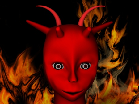 Red demon with horns on an abstract background photo