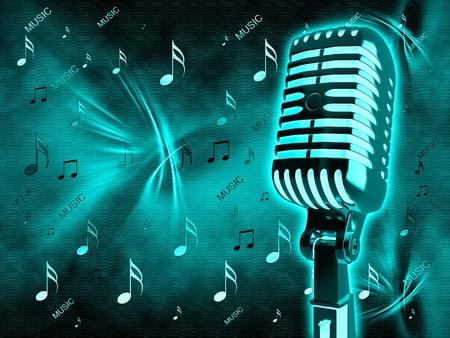 microfono antiguo: Micr�fono de Oro de la vendimia en el fondo
