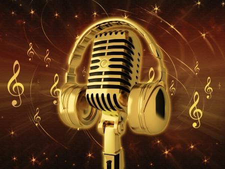note musicali: Microfono con le cuffie su sfondo
