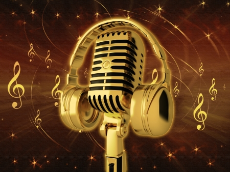 Microphone with headphones on background
