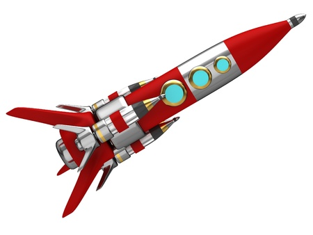 Steel stylized space rocket in flight photo
