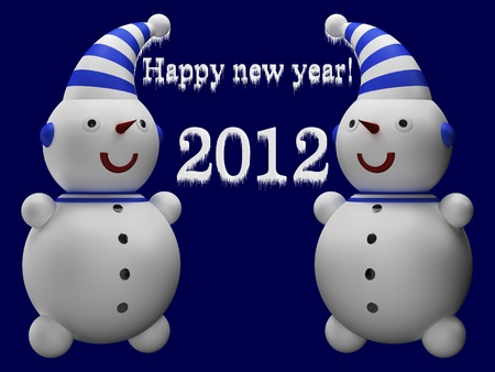 Snowmen and the words Happy New Year! photo