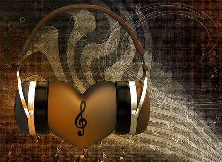 Headphones with a heart on the background