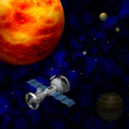 artificial satellite: Artificial satellite on a background of the planets Stock Photo