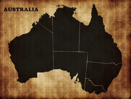 political division: Map of Australia on the old texture Stock Photo