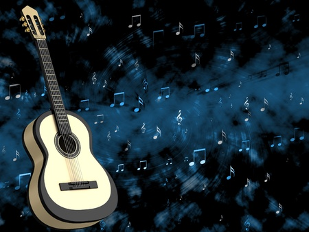 Abstract background with a guitar photo