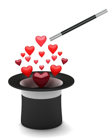 harry: The black hat with hearts Stock Photo