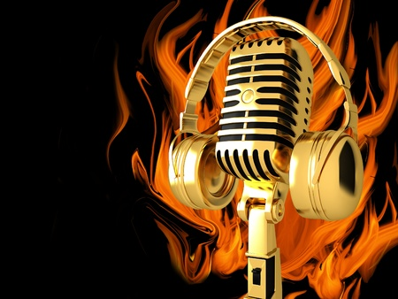 Microphone with headphones on fire background photo