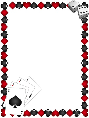 cards poker: Playing Cards with border on a white background Stock Photo