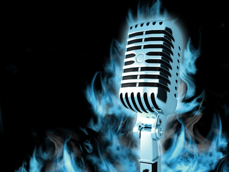 Vintage microphone on the abstract background Stock Photo
