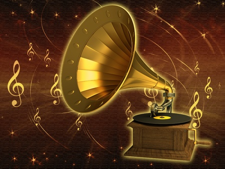 Golden gramophone on the old background photo