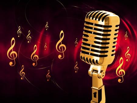 pop singer: Gold vintage microphone on the background